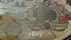 Vintage Gold Foiled Blaeu Wall Map of The New World-Matted & Framed Under Glass