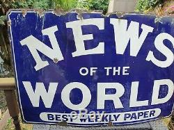 Vintage News Of The World Enamel Sign