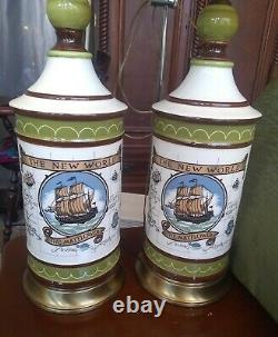 Vintage Pair Of 2 Ceramic The New World, The Mayflower Ship Lamps