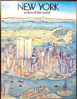 Vintage Poster NEW YORK VIEW OF THE WORLD Harvey Hutter & Co M112 framed