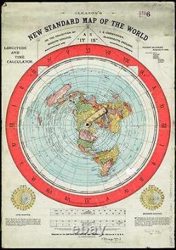 XXL 5f/t FLAT EARTH POSTER GLEASON'S NEW STANDARD MAP OF THE WORLD (152x101cm)