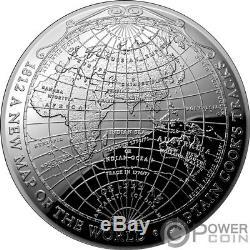 1812 Une Nouvelle Carte Du Monde Pièce D'argent En Dôme Terrestre De 1 Oz 5 $ Australie 2019
