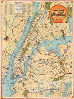1939 Shell Pictorial City Map Or Plan Of New York City For The World's Fair