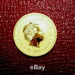 2000 Australie Année Du Dragon Série Lunaire 1 25 $ 1/4 Onces. 9999 Gold Nouveau