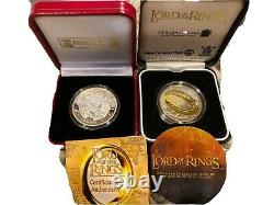 2003 Lord Of The Rings Coins, New Zealand Silver $1 Coin + Isle Of Man Crown