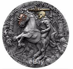 2019 2 Oz Silver Niue 5 $ Red Horse, Quatre Cavaliers De La Boîte À Apocalypse Coa Nouveau