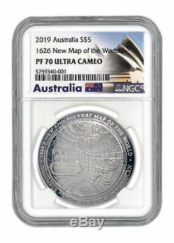 2019 Australie 1626 Nouvelle Carte Du Monde En Forme De Dôme, Argent, 1 Oz Ngc Pf70 Uc