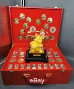 2020 Nouveaux Zodiaque Chinois Jade 24k Or Argent Plaqué Coins Set Année Du Rat
