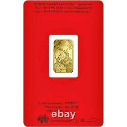 2021 Gold 5 Grams Pamp Suisse Lunar Year Of The Oxen Bar (nouveau Avec Assay Card)