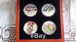 4 X 1 Oz Oiseaux D'argent Des Îles Fidji 2007 Menthe Nouvelle