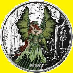 5 Oz Colorized Proof Amy Brown Collection Lady Of The Forest Silver Nouveau Coa