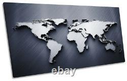 Carte Du Monde Gris Encadré Panoramique Toile Print Wall Art