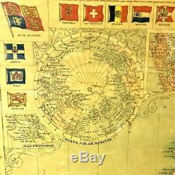 Carte Vintage Énorme Encadrée 1908 Nouvelle Carte Du Monde De Projec De Mercon