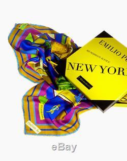 Foulard Emilio Pucci En Soie Villes Du Monde New York Édition Limitée 2014