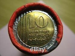 Israël 10 Nouveau Sheqalim Unc Rouleau 25 Pièces 2009 De La Banque D'israël