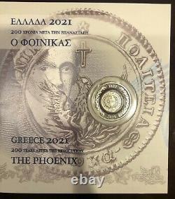 Le Phoenix De 1828 Bimetallic Coin Grèce 1821-2021 Nouvelle Collection Super Rare