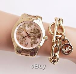 Michael Kors Watch Femmes Mk6476 Layton Carte Du Monde En Or Rose Nouveau