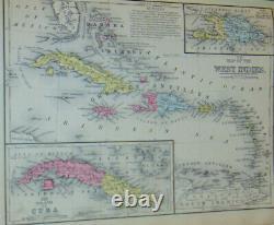 Mitchell's New School Atlas 1875! États-unis! Pays Du Monde! 44 Cartes