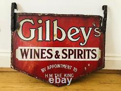 News Of The World 1930s Ad Sign / 1920s Gilbeys Wine & Spirits Enamel Signs