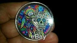 Nouveau! 1 Oz D'argent Au Mexique Libertad Jour De La Médaille Plaquée Mort Colorisation & Ruthenium