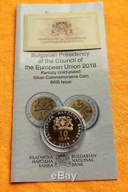Nouveau! 2018 Bulgarie, 10 Leva Présidence Du Concil De L'ue, D'argent, Preuve