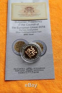Nouveau! 2018 Bulgarie, 10 Leva Présidence Du Conseil De L'ue, Argent, Preuve
