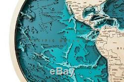 Nouveau Woodenmap Monde 3d Carte En Bois Dans La Projection De Robinson Avec Des Profondeurs Réelles