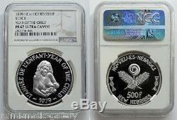 Nouvelles Hebrides 500 Francs 1979 Argent Ngc Pf67 Année De L'enfant Ucam Rare Mtg. 60