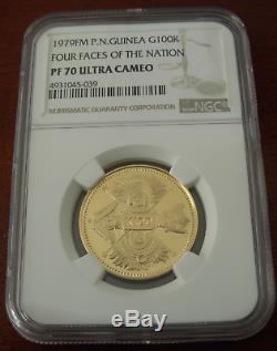 Papouasie-nouvelle-guinée 1979fm Gold 100 Kina Ngc Pf70uc Quatre Faces De La Nation