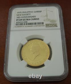 Philippines 1975 Or 1000 Piso Ngc Pf69uc 3e Anniversaire De La Nouvelle Société