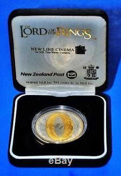 Pièce Du Seigneur Des Anneaux De La Nouvelle-zélande 1 $ Pièce En Argent 2003 Argent 925 Avec 24 Carats
