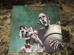 Queen Brian May Rare Signé Autographié Vinyle Lp Record Nouvelles Du Monde Coa