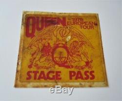 Queen Original 1978 European Tour Pass Scène Une Nouvelle Du Concert Du Monde
