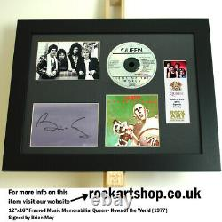 Queen Signed By Brian May News Of The World Autograph Freddie Mercury World Ship