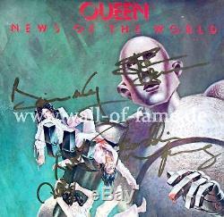Reine Autographe Signée Lp Couverture Nouvelles Du Monde Freddie Mercury