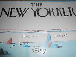 Saul Steinberg La Vue De New Yorker Sur Le Monde Affiche Encadrée 161/4 X 201/4