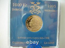 Suède Or 1000 Kronor 1995 1000e Anniversaire De La Frappe Nouvelle À Partir De La Menthe