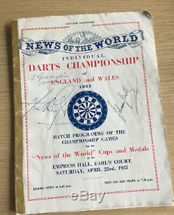 Tres Rare Nouvelles Des Programmes Du Championnat Du Monde 1955 Et 1960. Darts Signé