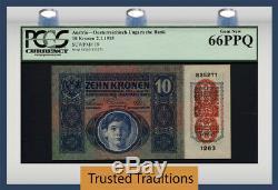 Tt Pk 19 1915 Autriche 10 Kronen Gpc 66 Ppq Gem Nouveau 1 Des Seuls 3 Gems Connus