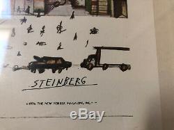 Vintage Steinberg Saul New Yorker Vue De L'encadré Du Monde 18 X 14