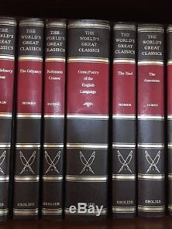Vtg Set Of 12 Les Grands Classiques Du Monde Gild Edge Hardcover Grolier Nouveaux Livres