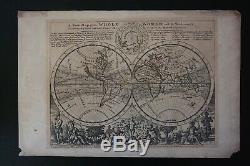 Weltkarte. Herman Moll. Une Nouvelle Carte De L'ensemble Du Monde. Kupferstich-karte Ca. 1732
